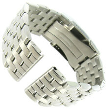 24mm deBeer Breitling Navitimer Style Solid Link FoldOver Buckle Mens Watch Band