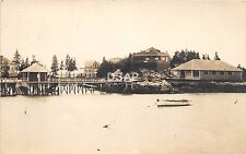 A14  MAINE Me Real Photo RPPC Postcard '12 CAPITOL? Boothbay Harbor Studio Pier