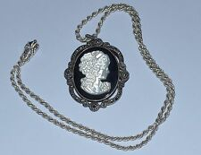 VINTAGE STERLING SILVER ONYX AND CARVED MOTHER OF PEARL CAMEO PENDANT PIN