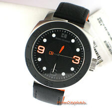 Boss Orange Hugo Boss by Movado Mens Leather Analog 3 Hand 1512669 Black Watch