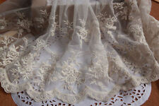 "Vintage Rose Embroidery Lace Tulle Lace Trims 9.44"" Wide 2 Yards"