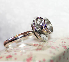 Cute vintage style Silver plated adjustable teacup ring Alice In Wonderland Gift