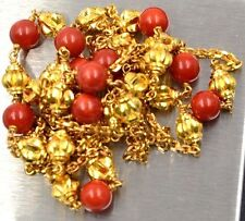 22K GOLD Yellow 916 SOLID Coral Bead Necklace 34 Inch Not Scrap Handmade NEW
