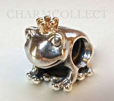 Authentic Pandora Silver & 14K Gold Frog Prince Charm #791118 NEW