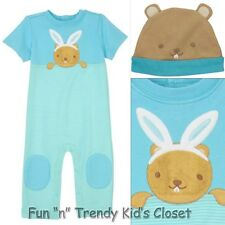 NWT Gymboree BRAND NEW BABY Boys Size 6-12 Months Beaver Bunny Hat One-Piece SET