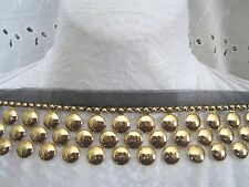 "2"" **FRINGE - DOT - STUD - ROUND** Trim BTY - GOLD ON BLACK"
