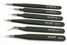 6x Non-magnetic Steel Fine Curved Tip Tweezers Forceps Anti-static ESD SMD chips