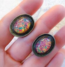 FAB TAXCO SIGNED MEXICAN STERLING GLASS? FIRE OPAL, DRAGONS BREATH CUFFLINKS
