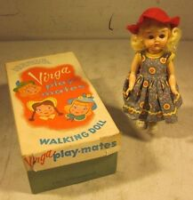 "Vintage 1950's Virga Play-Mates P-802 Schoolday 198 Walker Doll With Box 8"" USA"