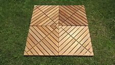 "4 Pack Nyatoh Wood Floor Squares with Oil Finish New 18"" x 18"" Patio and Garden"