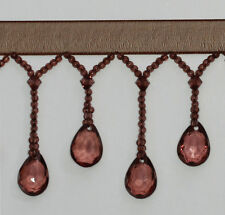 Organza Teardrop  Beaded Trimming Fringe  1/2Mtr Colour:Brown #9