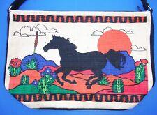 Western Stenciled Horse Design Canvas Zippered Shoulder/Messenger Bag