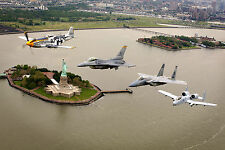 8x12 Photo P-51 Mustang-F-16-F-15 & A-10 Thunderbolt Fly Over Statue of Liberty