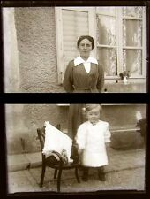 PLAQUE VERRE PHOTO NEGATIF circa.1914 MERE ET FILS mother & son  (B33)
