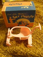 VINTAGE MINIATURE HARD PLASTIC TOY BABY CARRIAGE STROLLER MINT IN BOX