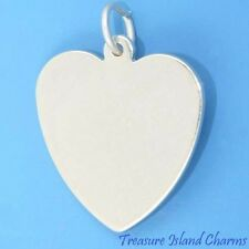 """ENGRAVABLE FLAT HEART .925 Solid Sterling Silver Charm Pendant 18mm 3/4"""" NEW"""