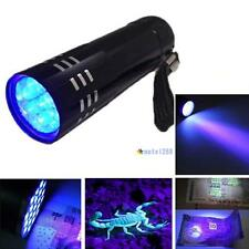 Mini Aluminum UV Ultra Violet 9 LED Flashlight Blacklight Torch Light Lamp #A MT