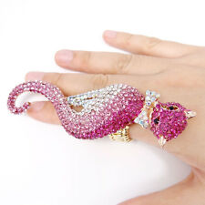 Top Selling Cute Cat Cocktail ring Sz Free Pink Austrian Crystal Gold Tone