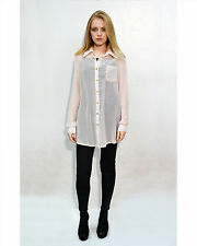 Lady plain cream nude white color chiffon gold buttons long shirt top oversize
