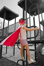 New Girl's Hot Pink White Reversible Satin Super Hero Cape and Mask