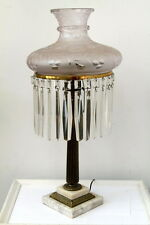 *FANTASTIC*  Antique AMERICAN SINUMBRA ASTRAL LAMP with GREAT SHADE & PRISMS