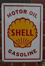 SHELL MOTOR OIL & GASOLINE Gas Pump SIGN Mechanic Garage Collectable SIGN 7day