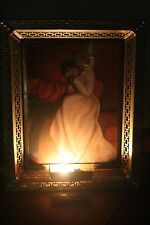 "Vintage Large Metal Lighted Gold Tone Frame w/ Oil Painting of Couple - 21"" x 17"