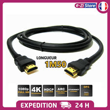CABLE HDMI 1.5M FULL HD 4K 3D BLU RAY PS4 XBOX LCD PC ORDINATEUR 1920x1080P 1.5M