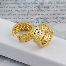 18k Yellow Gold Filled Hollow Hoop Earrings 14MM Fashion Huggie Jewelry