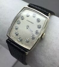 NICE LONGINES 528 14K WHITE GOLD WRISTWATCH! DIAMOND DIAL! 17J!
