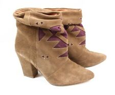 HOWSTY Nalah Brown Suede Leather Purple Slouch Ankle Bootie Boots Women 37 6.5 7
