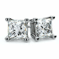 jem: WOW! CLEAR 5MM PRINCESS CUT DIAMOND STUD EARRINGS in FINE SILVER