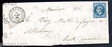 France 1869 entire bearing 20c Nap 2216 G.C cancel Margerie-Hancourt, Ambulant
