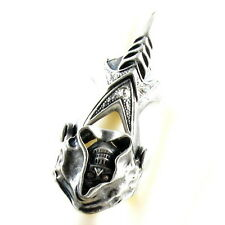 RING ghost SKULL monster pirate silver argent gray solid SIZE LARGE rhinestone