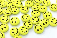Smiley Wooden Shank Button Yellow Happy Face Smile Baby Kids Coat Wood 20pcs