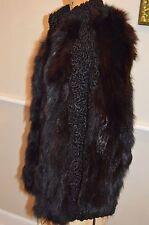 vintage interesting black persian lamb & fox fur jacket coat