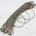 50pcs 25.4cm 10'' Stainless Steel Wire Keychain Screw Clasp Key Ring 2mm Outdoor