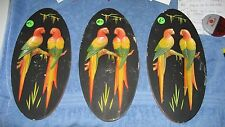 """Plaster Oval Parrot or Bird Plaques 7"""" x 3.5"""" Vintage - 3 total"""