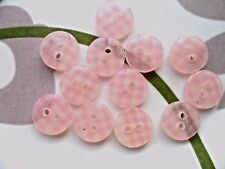 50pcs Plastic Buttons Small Gingham Checked Craft Sewing Lady Shirt Pink 1/2""