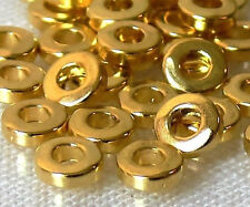 Large Hole Golden Flat Heishi 6x2mm 25 Pcs Metal Spacer Beads New Arrivals