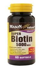 Mason Natural Super Biotin 5000 mcg, Softgels, 60 ea