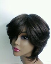 Yaki human Hair Handmade Wig layered bob ajustable cap sewing wig dark brown