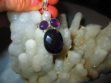 "BEAUTIFUL NEW AMETHYST & RIVER PEAL GEMSTONE PENDANT 2 3/4"" JEWELRY GIFT"