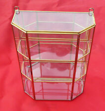New 12'' GLASS & BRASS CURIO CABINET. Mirror back to reflect back of Figurine +