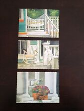 Linda Baker Set 3 Giclee Mini Prints Front Porch Rocking Awhile Chair Hammock