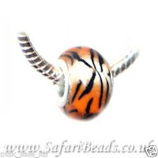 1 Tiger Animal Print European Charm Bead Handmade