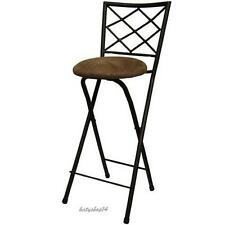 "Folding Bar Stool X-Back 30"" Bronze Frame Beige Microfiber Party Height Chair"