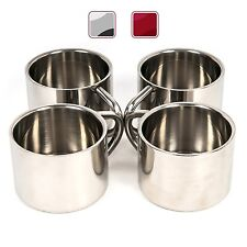 F&L Stainless Steel Double Wall Espresso Cups 2-Ounce Silver Set of 4