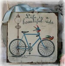 """Bycicle "" Vintage Shabby Country Cottage Chic style~Wall Decor Sign"