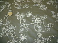 COTTON EMBROIDERED FLORAL -KHAKI/IVORY-DRESS FABRIC-FREE P&P